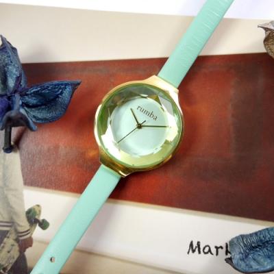 rumba time 紐約品牌 切割玻璃鏡面 日本機芯 真皮手錶-湖水綠x金框/30mm