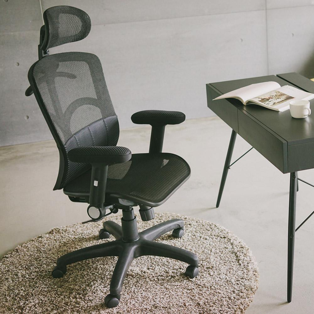 Home Feeling 氣墊腰靠全網布高背電腦椅/辦公椅/英倫風