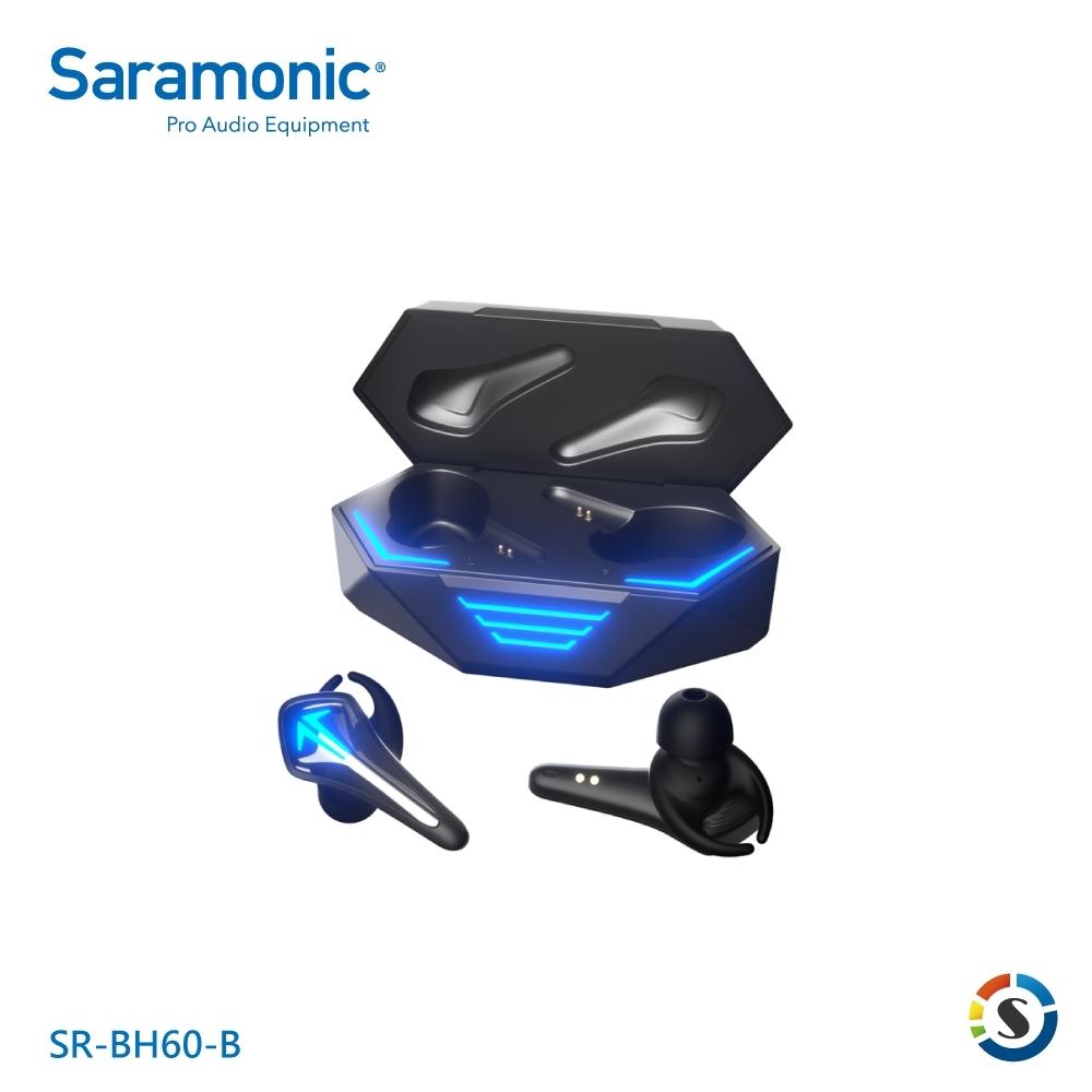 Saramonic楓笛 SR-BH60 真無線遊戲藍牙耳機(黑/紅)