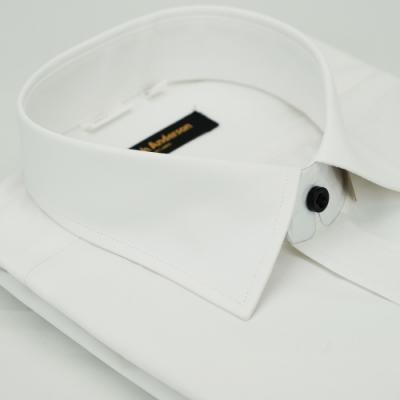 金‧安德森 白色斜紋黑釦窄版短袖襯衫fast
