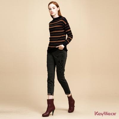 KeyWear奇威名品    精緻貓咪圖騰刺繡長褲-鐵灰色