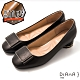 DIANA 4cm方楦頭方釦飾羊皮粗跟鞋-輕熟質感–黑 product thumbnail 1