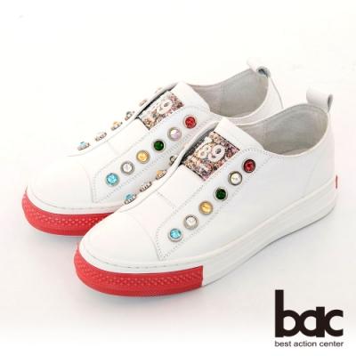【bac】休閒享樂厚底寶石裝飾懶人休閒鞋-白