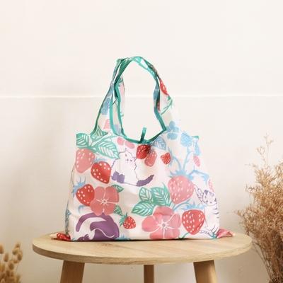 日本Prairie Dog 設計包/環保袋/購物袋/手提袋 - 草莓躲貓貓