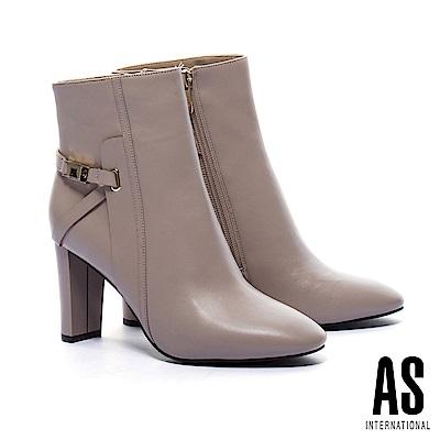短靴 AS 簡約優雅金屬繫帶釦全真皮美型高跟短靴-米