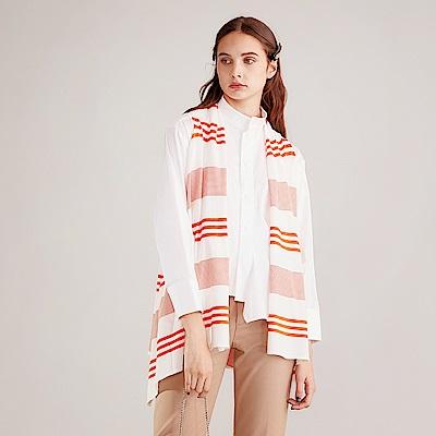 獨身貴族 條紋披肩百搭針織造型罩衫(兩色)-哈密瓜橙