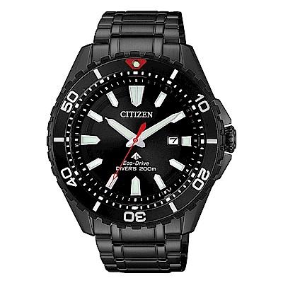 CITIZEN 星辰光動能200米潛水時尚手錶(BN0195-54E)-黑/44mm