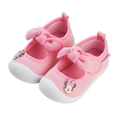 迪士尼童鞋 米妮 蝴蝶結造型寶寶學步鞋-粉