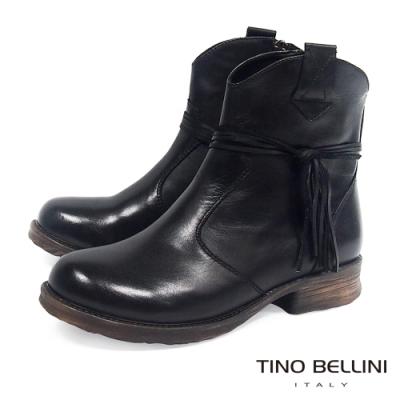 Tino Bellini不羈皮革綁繩低跟短靴_黑