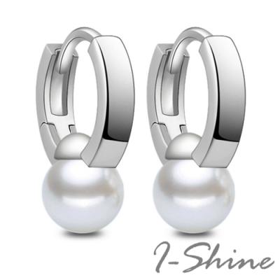 I-Shine-正白K-霸王別姬-韓國網紅霸王珍珠造型銀色耳針耳環DB43