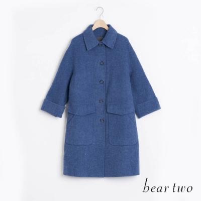 bear two- 羊毛裝飾金屬釦大衣 - 藍