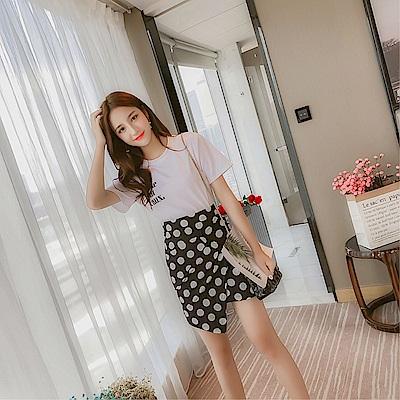 DABI 韓國風個性t恤搭配波點半身包臀裙套裝短袖