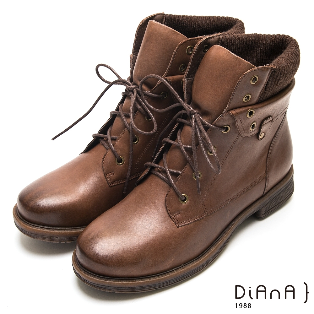 DIANA真牛皮綁帶中筒馬丁擦色短靴-後腫加厚-棕