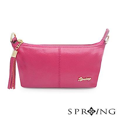 SPRING-微風城市輕量流蘇側背包-時尚桃
