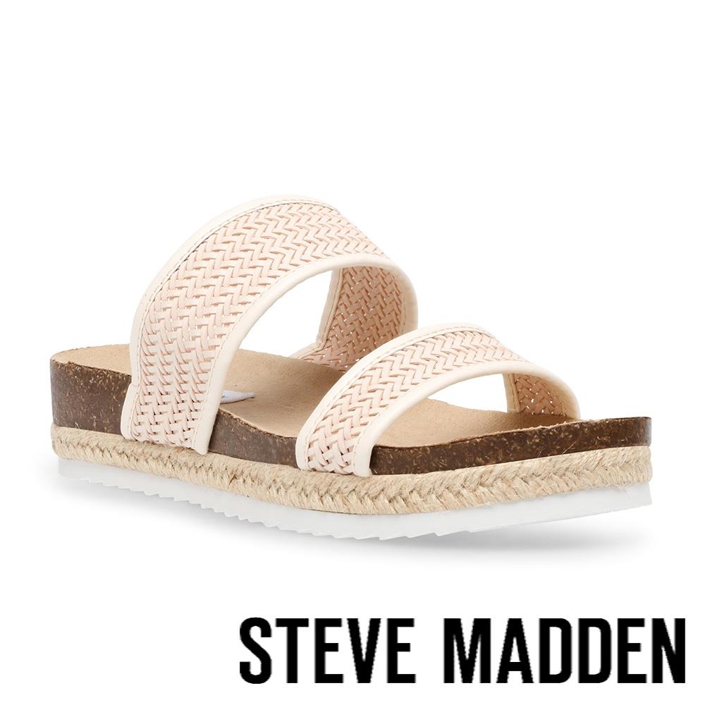 STEVE MADDEN-DALI 細編織雙帶厚底涼拖鞋-粉色