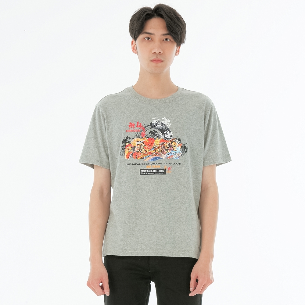 BIG TRAIN 加大噴印水滸神祭基本直腰-男-麻灰