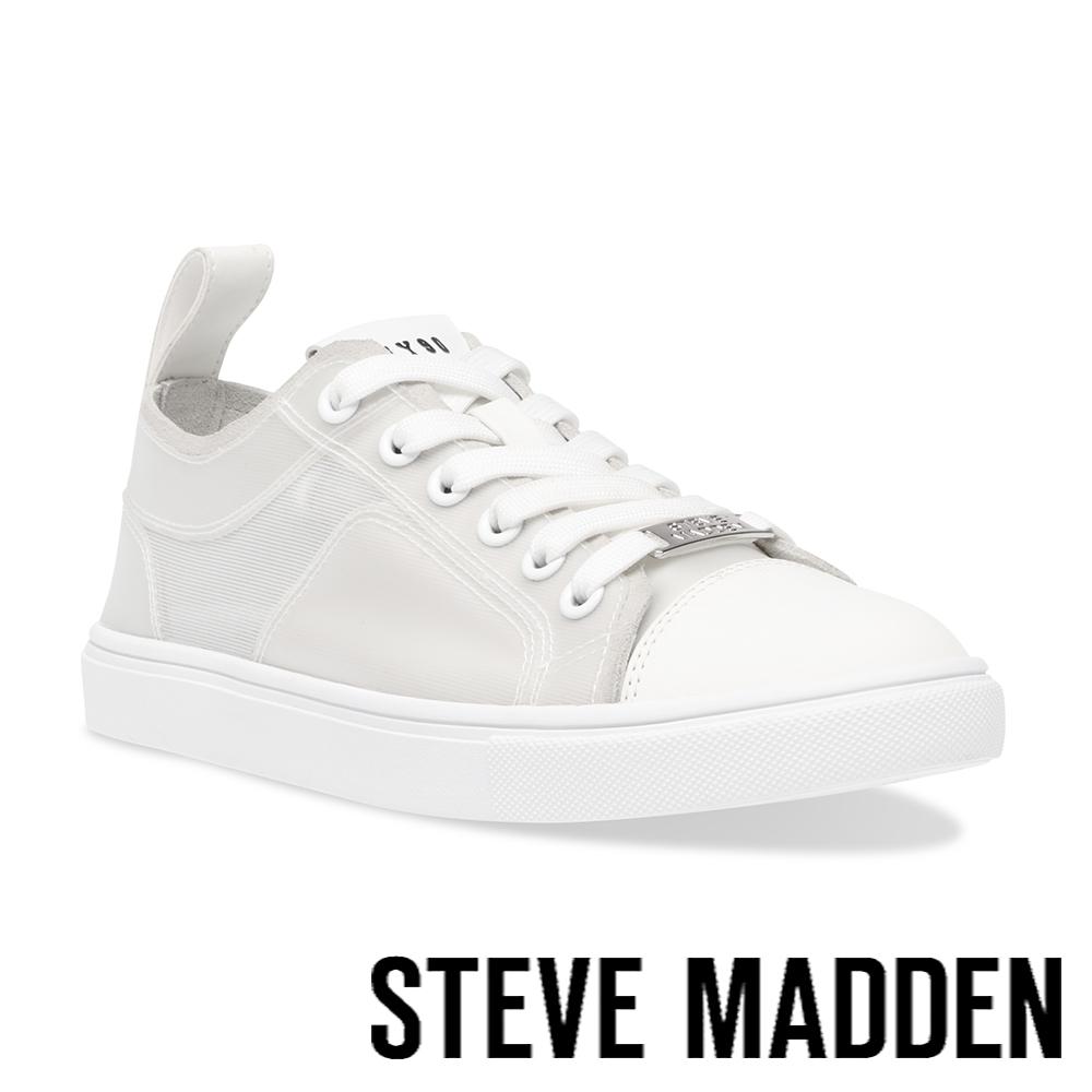 STEVE MADDEN-CRAVEN 百搭款拼接休閒小白鞋-灰白色