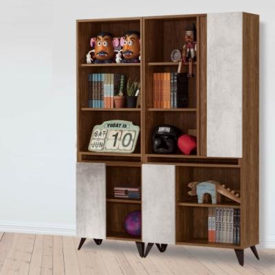 D&T 德泰傢俱 DINO清水模風格4.6尺組合書櫃 -140.5x32x181cm