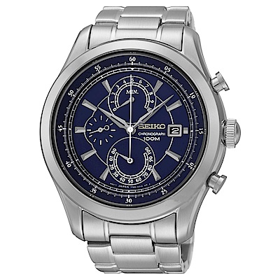 SEIKO 俊雅男爵三眼計時石英腕錶(SPC165P1)藍-/44mm