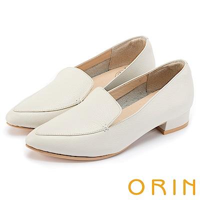 ORIN 復刻經典 質感牛皮尖頭樂福低跟鞋-米色
