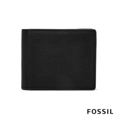 FOSSIL TYLER 真皮RFID帶證件格男夾-黑色(無鐵盒)