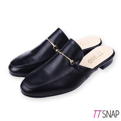 TTSNAP訂製款-簡約細絲金屬方頭穆勒鞋 黑