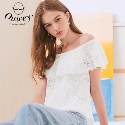 OUWEY歐薇 法式純白系列細壓摺蕾絲圓領上衣(白)3212071843