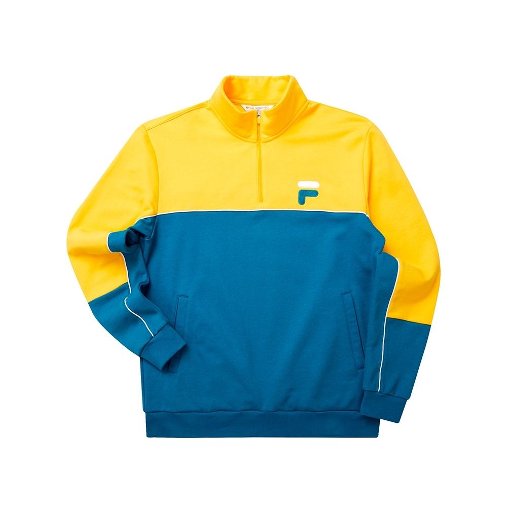 FILA 男長袖半門襟T恤-藍綠 1TET-5446-TQ