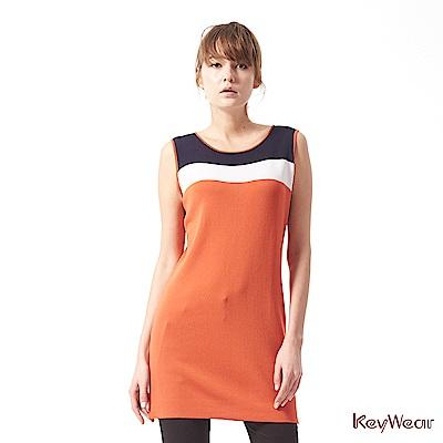 KeyWear奇威名品    經典配色質感針織洋裝-深橘色