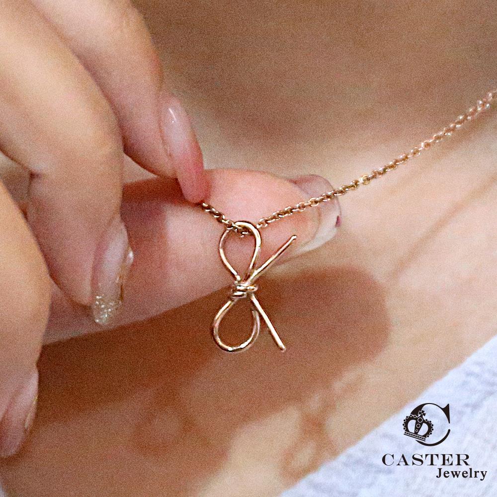 日本 凱斯特 CASTER 有質感的蝴蝶結 玫瑰金項鍊 防抗過敏 SUS316L頂級不鏽鋼