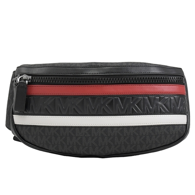 MICHAEL KORS COOPER條紋PVC拼接腰包/胸口包(紅/黑)