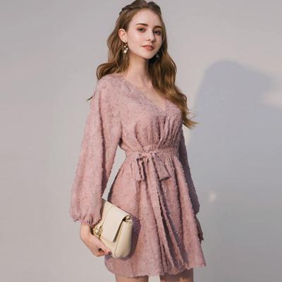 AIR SPACE 典雅燈籠袖綁帶洋裝(粉紅)