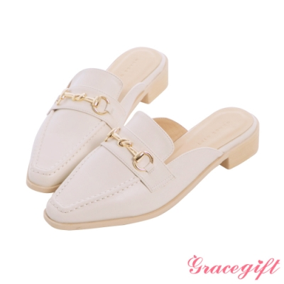 Grace gift-馬銜釦低跟穆勒鞋 米白
