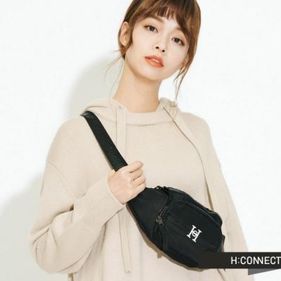 H:CONNECT 韓國品牌 配件 - 背帶印字腰包 -黑