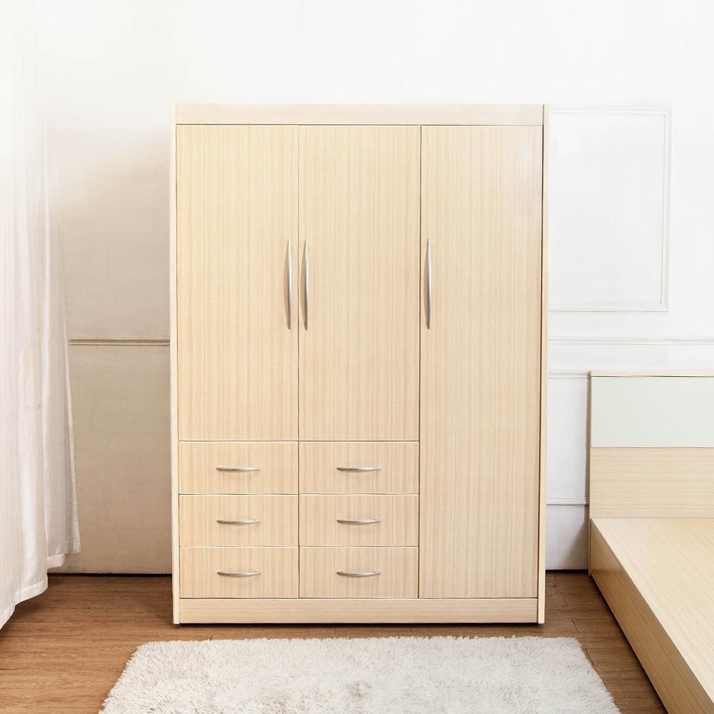 Birdie南亞塑鋼-4.7尺三開門六抽塑鋼衣櫃(白橡色)-141x深61x高200cm