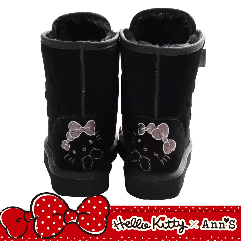 HELLO KITTY X Ann'S毛茸茸單色刺繡前綁緞帶蝴蝶結真皮雪靴-黑