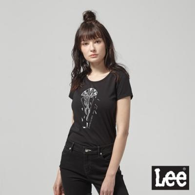 Lee短袖T恤 仿生水母印刷 黑 女