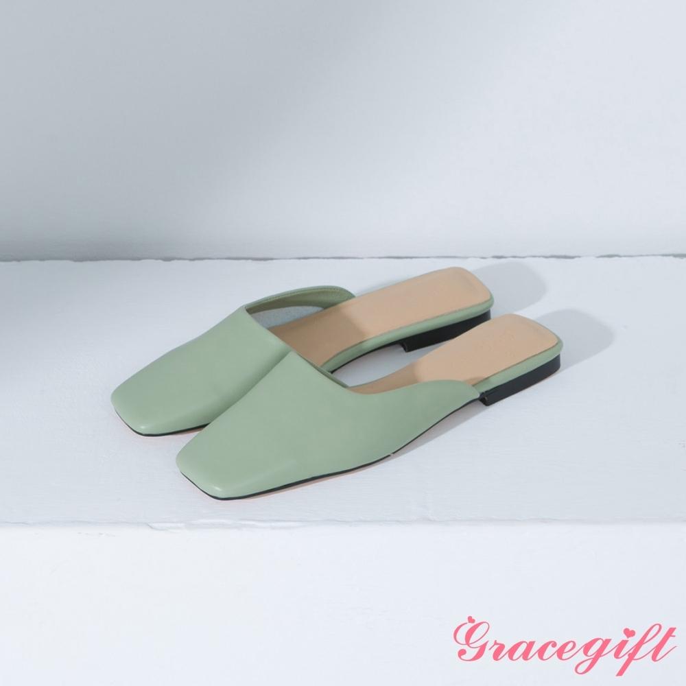 Grace gift-方頭斜口低跟穆勒鞋 綠