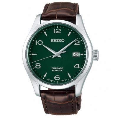 SEIKO 精工 Presage琺瑯工藝機械手錶SPB111J1-綠X咖啡/41mm