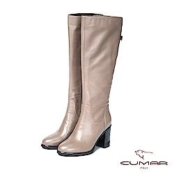CUMAR率性柔美- 簡約美型金屬裝飾粗高跟長靴