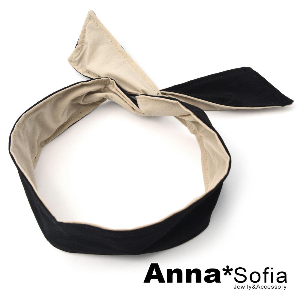 【3件480】AnnaSofia 雙面色小清新 兔耳髮帶髮圈領結帶(黑+駝系) @ Y!購物