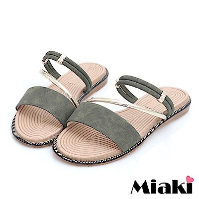Miaki-涼鞋韓國首選平底2穿涼拖-綠色