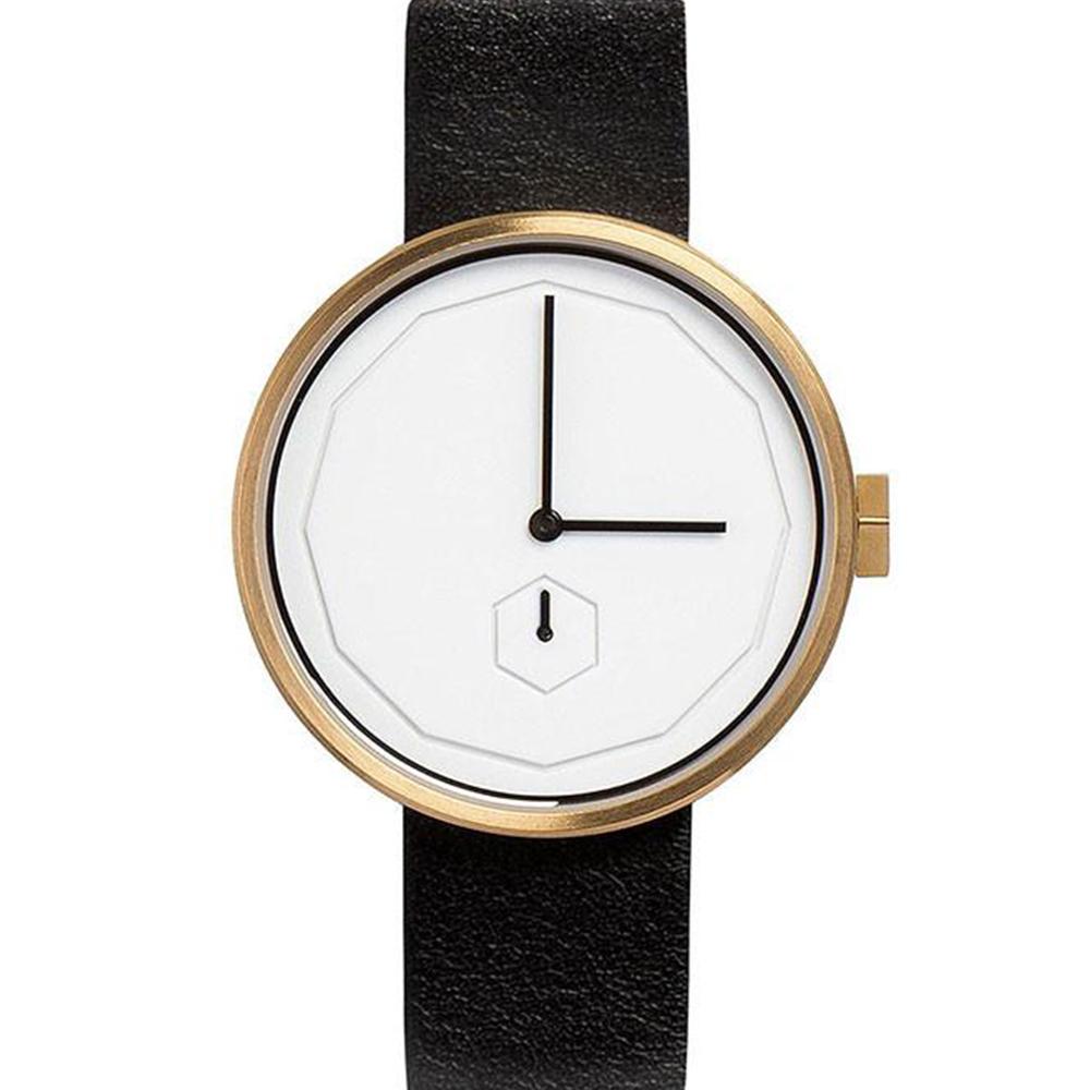 AÃRK 香檳金幾何簡約真皮革腕錶 /白38mm @ Y!購物