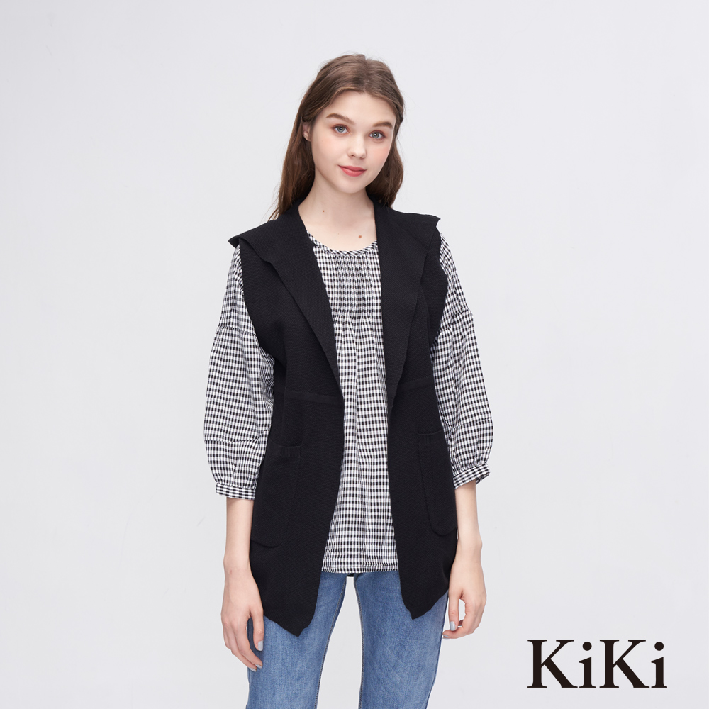 KiKi INLook 開衩針織無袖背心(3色)-黑色