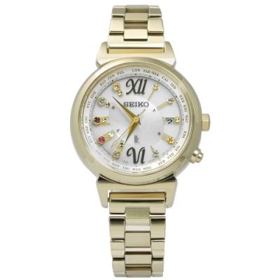 SEIKO 精工 LUKIA 晶鑽 太陽能 電波 藍寶石 手錶-銀x鍍金/28mm