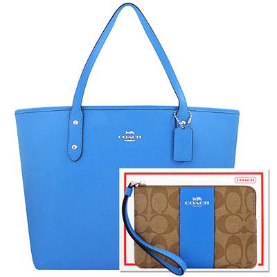 COACH 水藍色防刮皮革托特包+COACH 藍色大C PVC手拿包