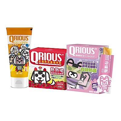 QRIOUS奇瑞斯寶貝夏日防護組/紫錐菊/益生箘/兒童牙膏/含氟1000ppm/兒童保健