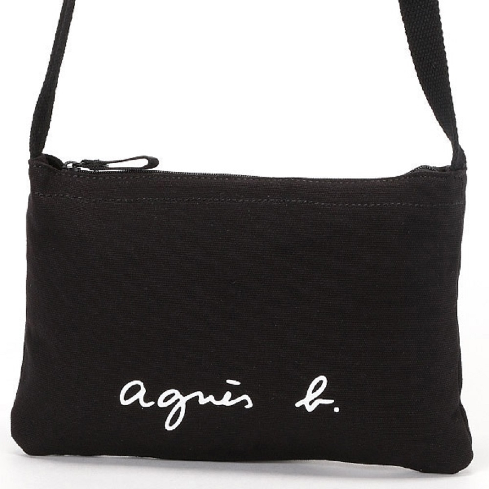 agnes b. Voyage 帆布 logo 拉鍊斜背包(黑)