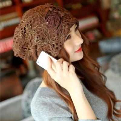 【89 zone】法式雙層花朵鏤空蕾絲優雅透氣防風/頭巾帽(咖啡)