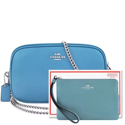 【限量10組】COACH 天空藍色荔枝紋皮革鍊帶雙層斜背包+咖啡色防刮皮革手拿包